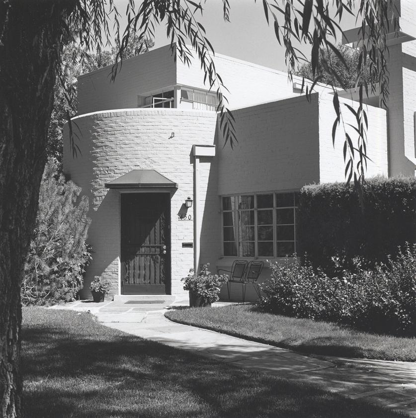 JaneSilversteinRies-Front entry approach to a General Electric demonstration house, Denver, planted 1936, shown here in 1977. - Photo courtesy of Photo Don Etter-sig.jpg